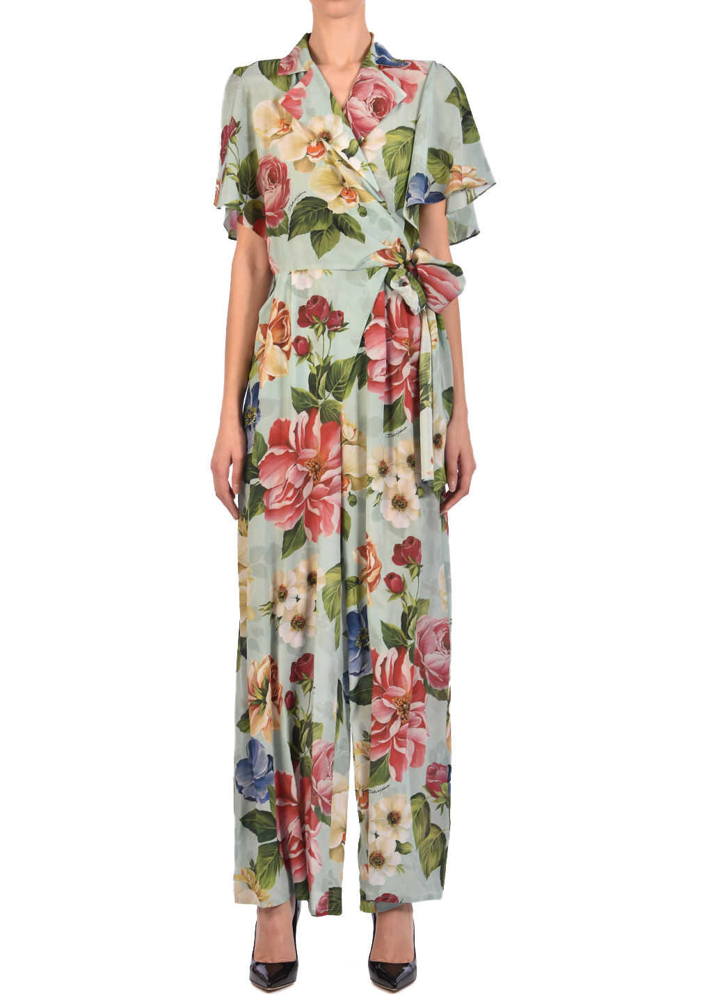 Dolce & Gabbana Floral Silk Jumpsuit Light blue