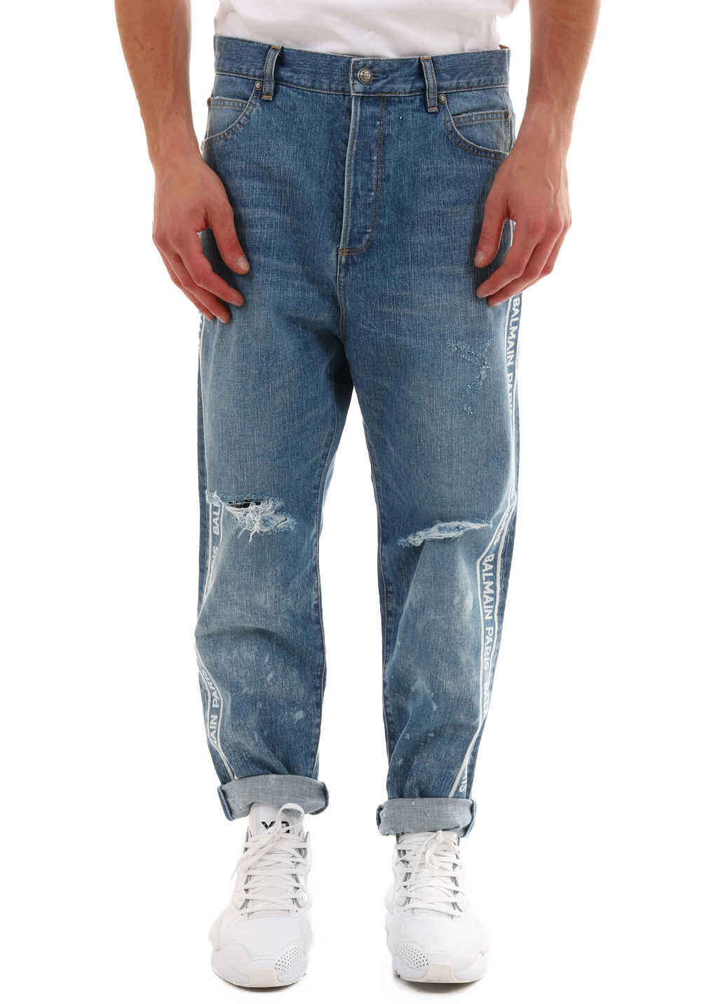 Balmain Logo Jeans Light blue
