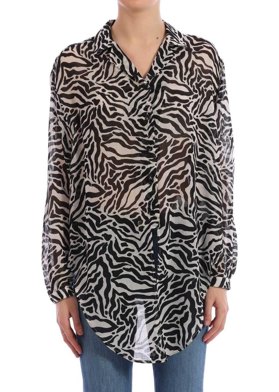 Saint Laurent Shirt In Tiger Wool Gauze Black