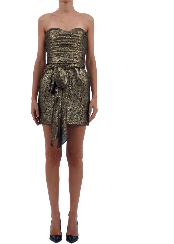 Saint Laurent Sleeveless Golden Dress Gold