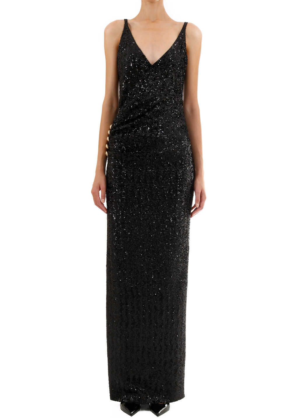Balmain Sequins Long Dress SF16892 235X Black image0