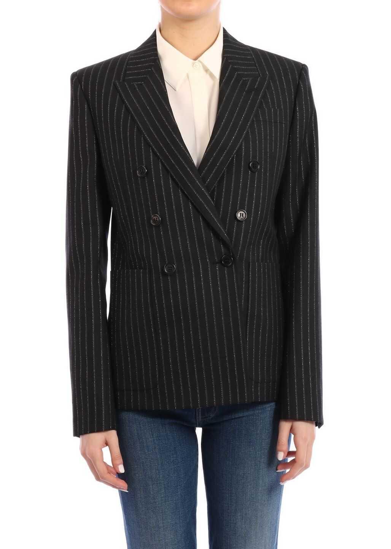 Saint Laurent Lamé Striped Jacket Black