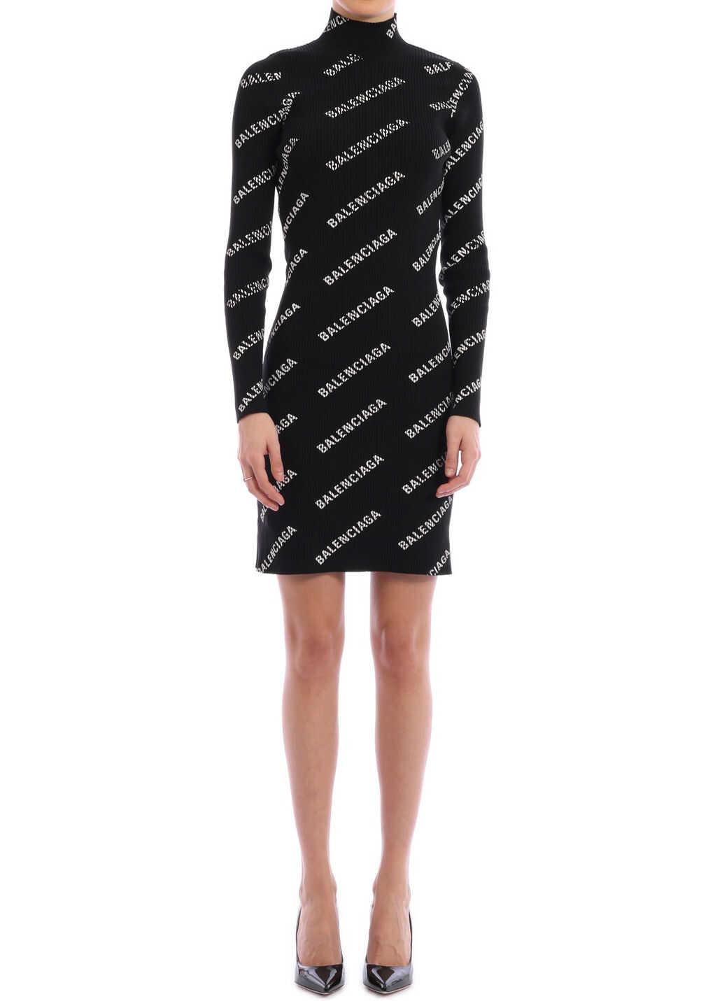 Balenciaga Allover Logo Mini Dress Black/white