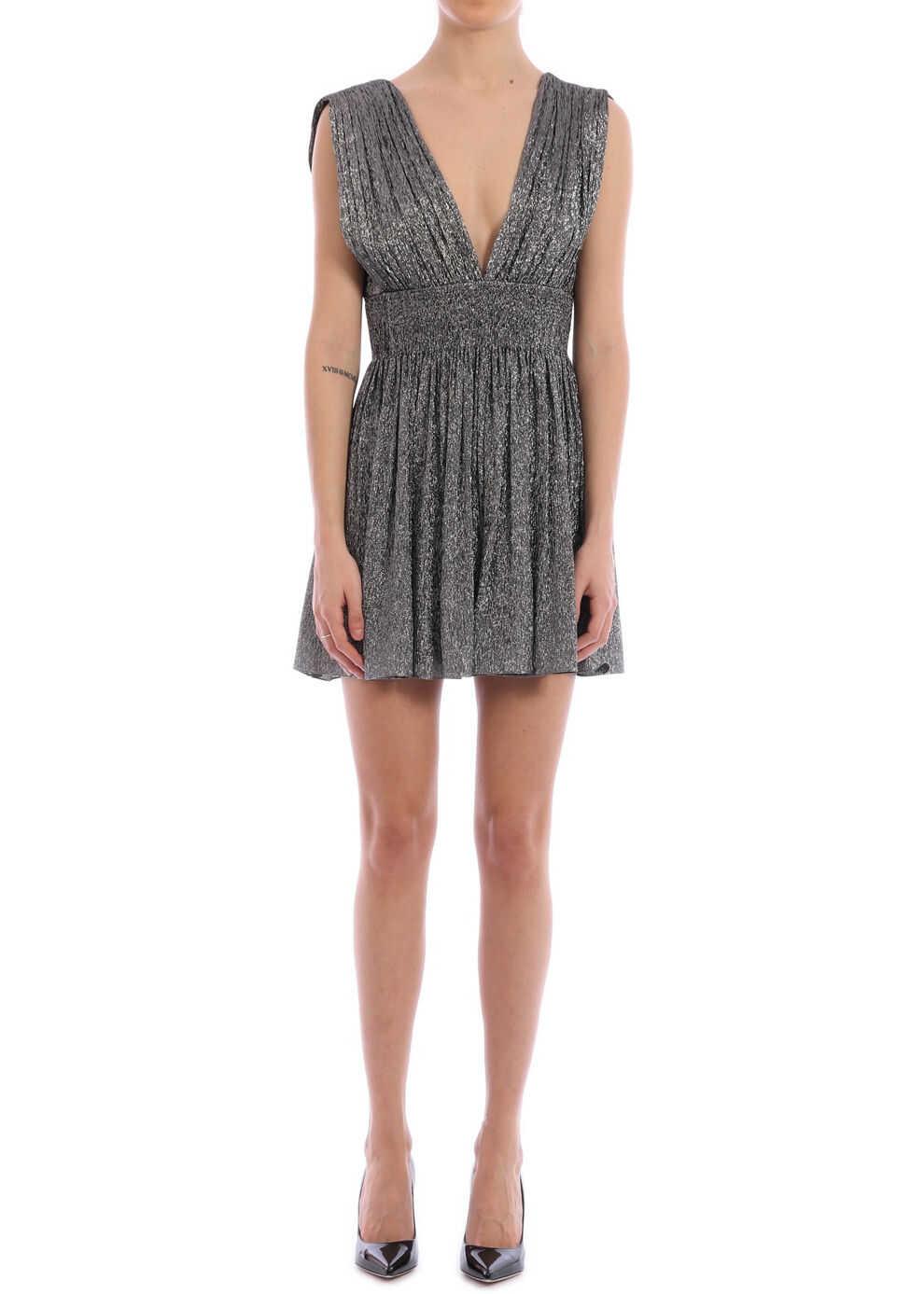 Saint Laurent Pleated Dress Silver