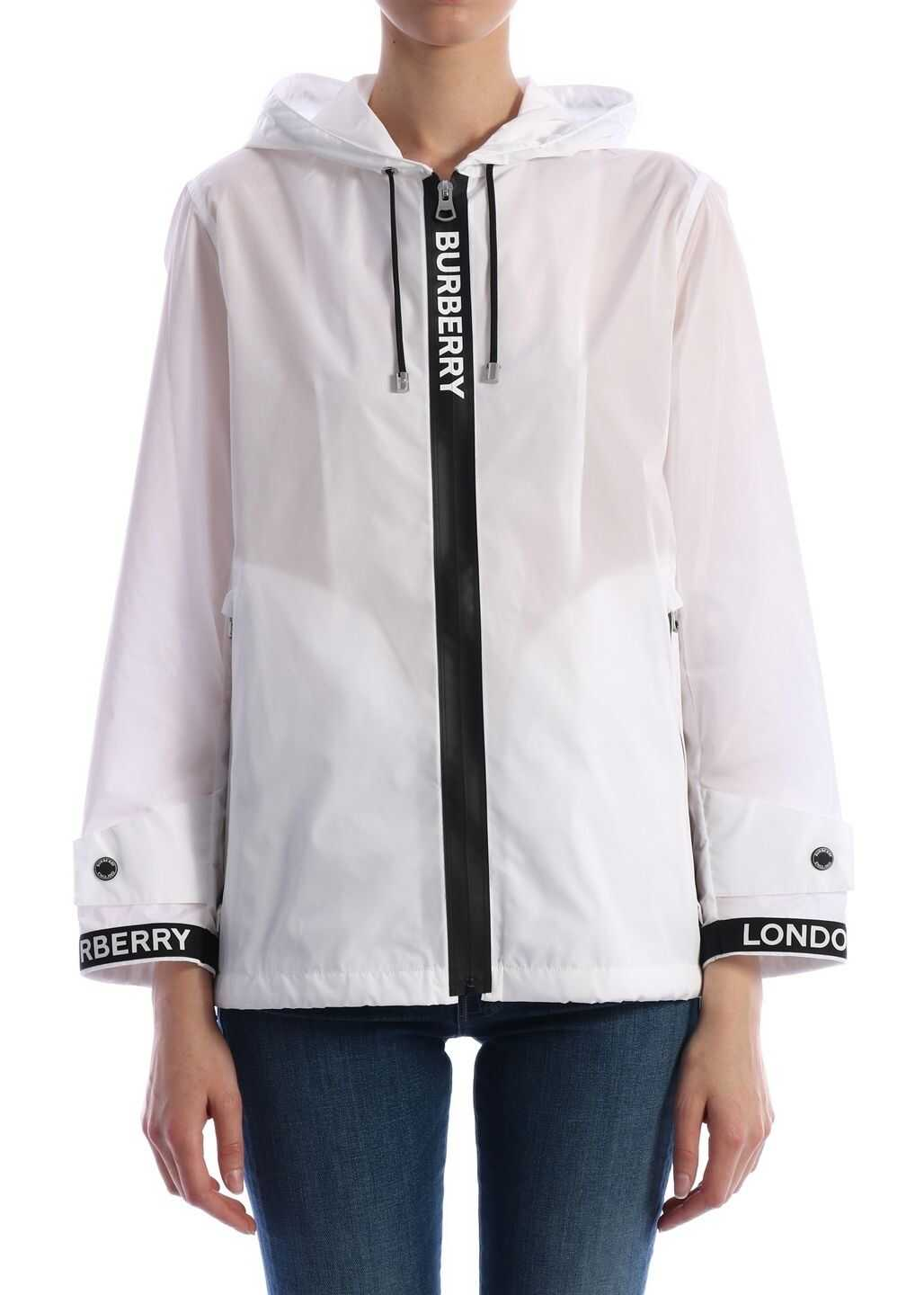 Burberry Jacket With Logoed Ribbons White