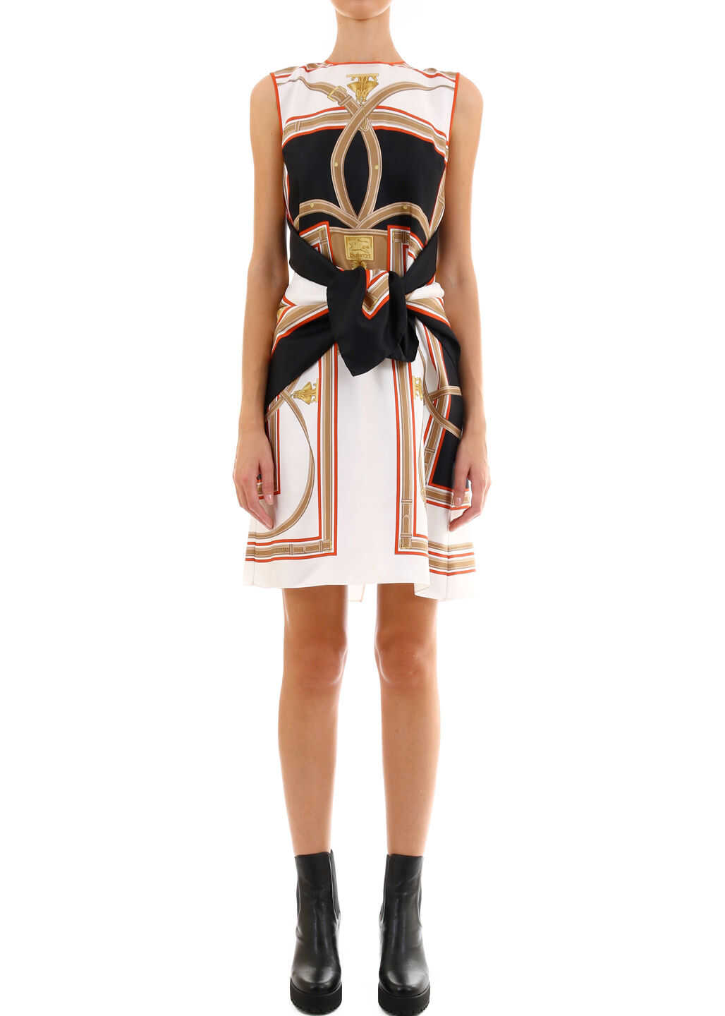 Burberry Silk Dress With Foulard Black