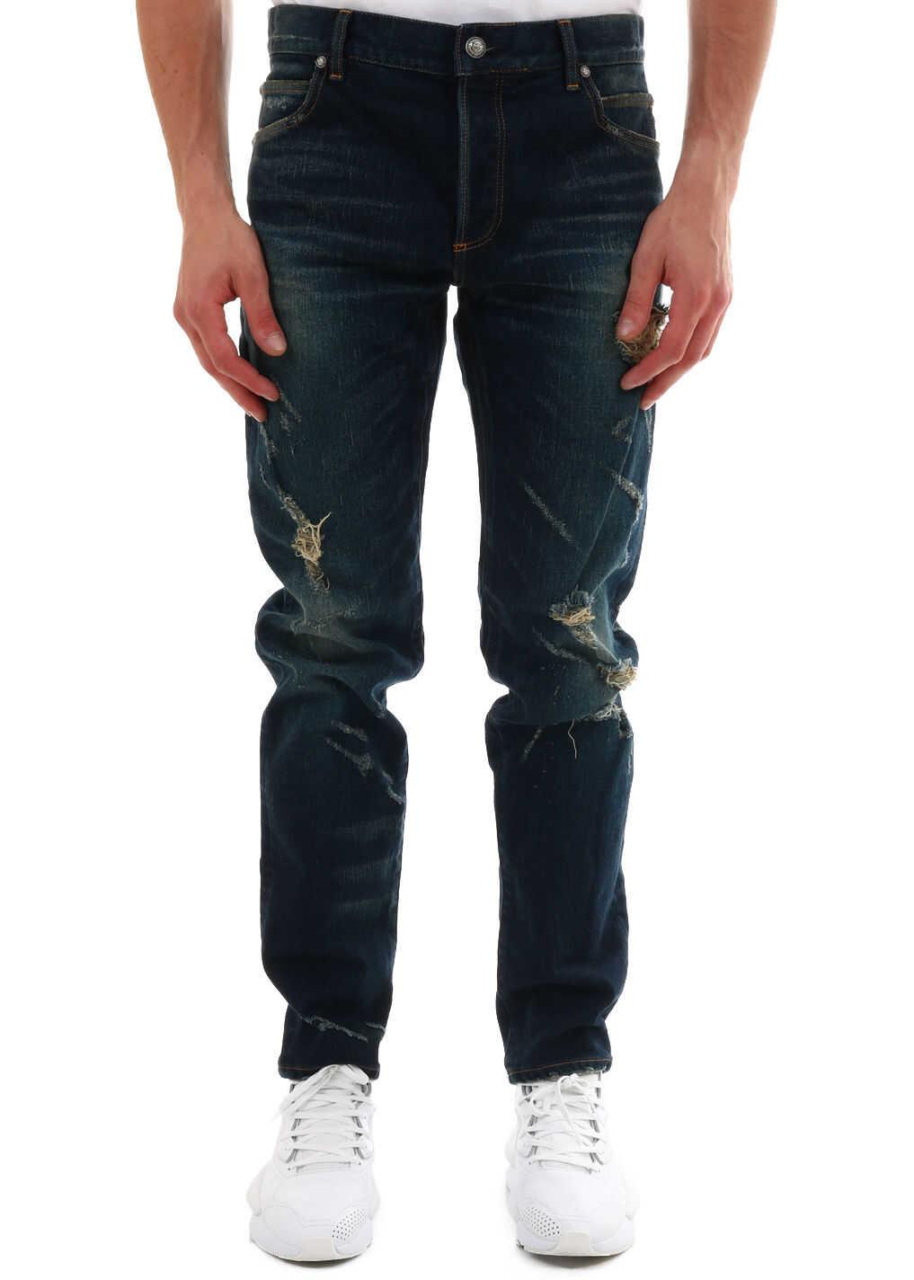 Balmain Tear Jeans Blue imagine