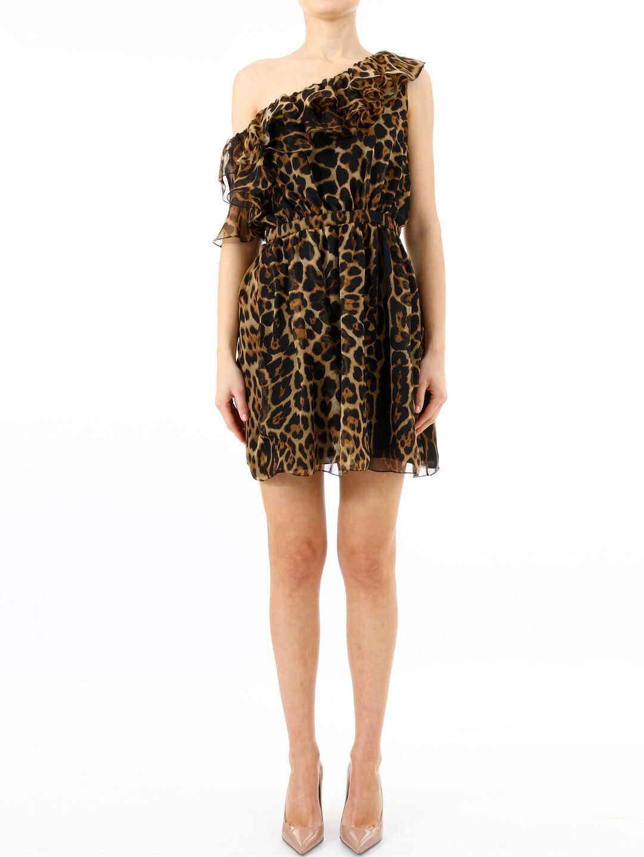 Saint Laurent Silk Dress Animal Print Brown