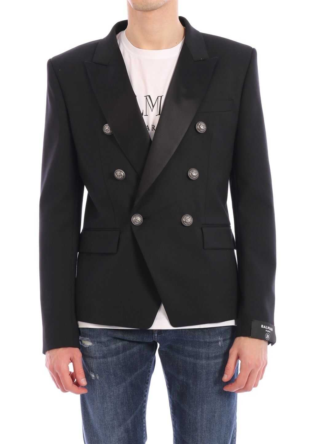 Balmain Double-Breasted Jacket Black imagine
