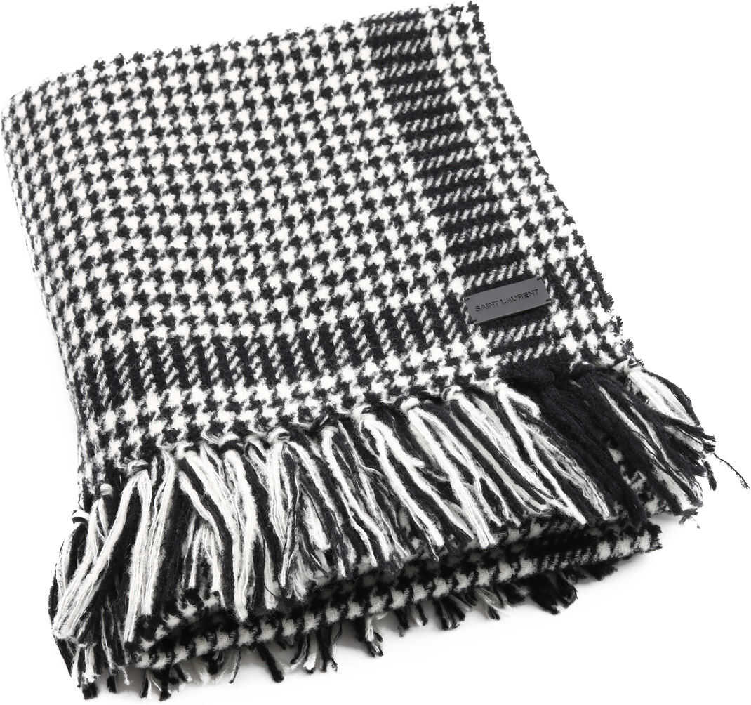 Saint Laurent Wool Stole Houndstooth Print Black