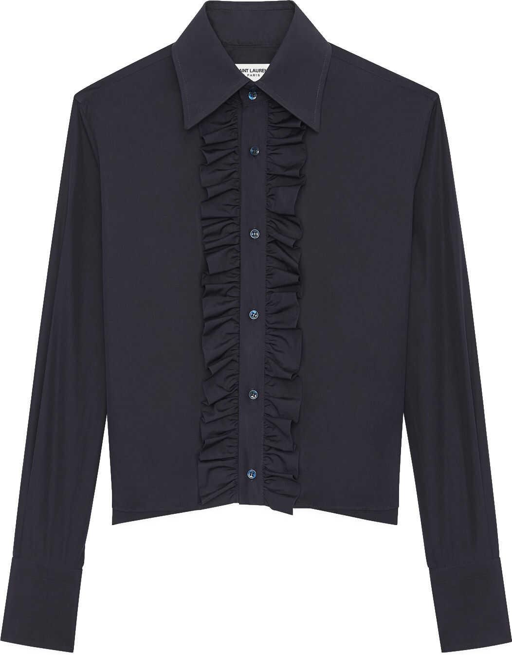 Saint Laurent Ruffles Shirt Blue