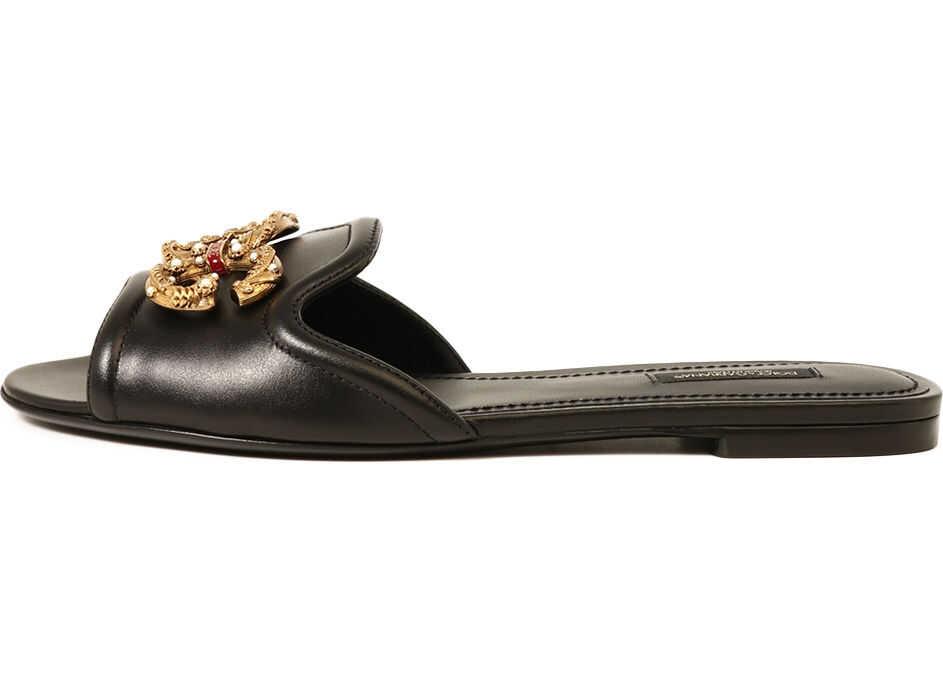 Dolce & Gabbana Slide Sandal Dg Logo Black