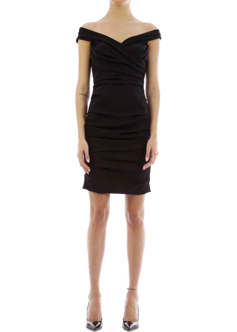 Dolce & Gabbana Draped Silk Dress Black