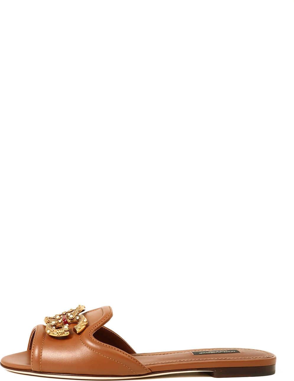Dolce & Gabbana Slide Sandal Dg Logo Beige