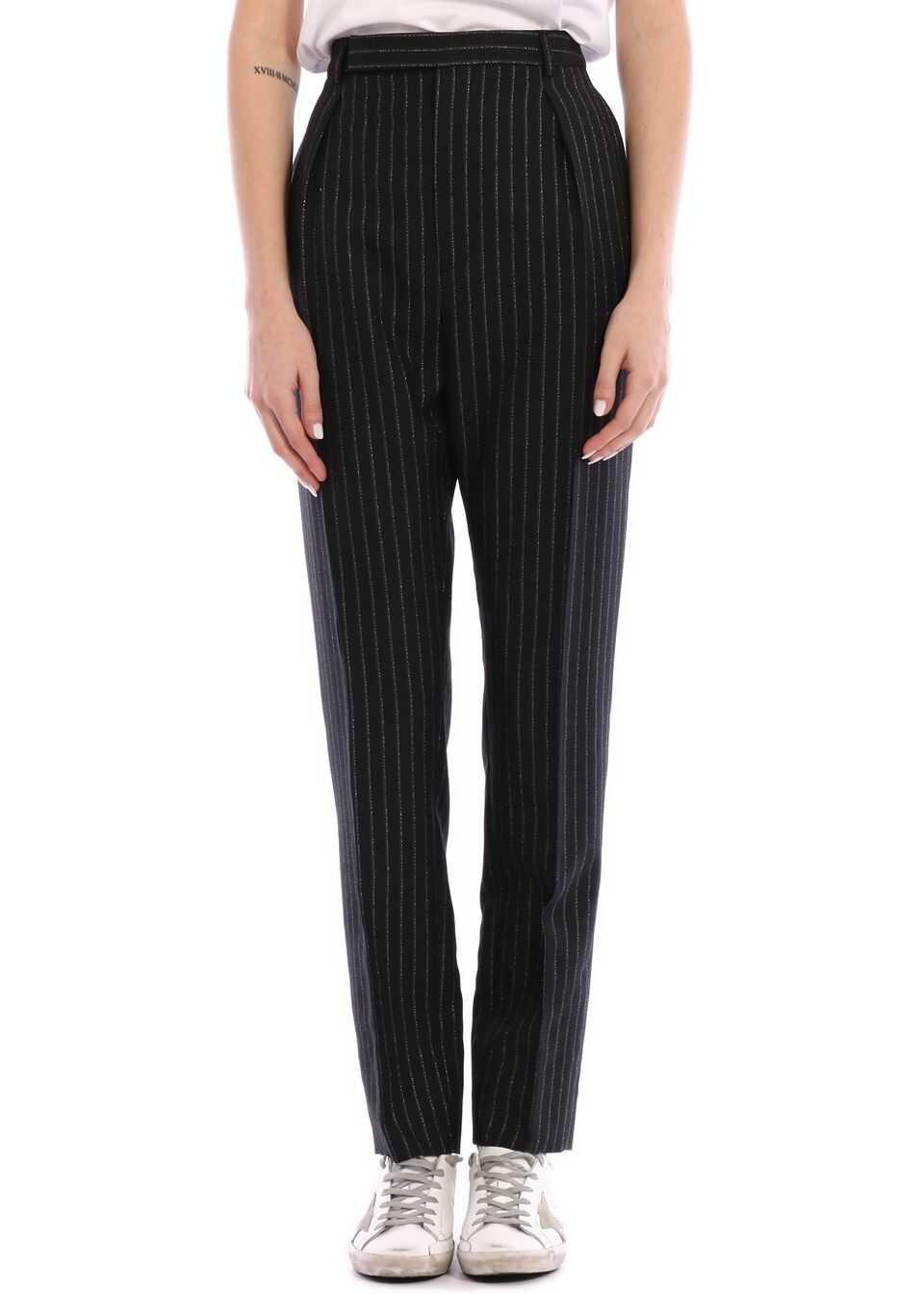Saint Laurent Pleated Lamè Wool Trousers Black