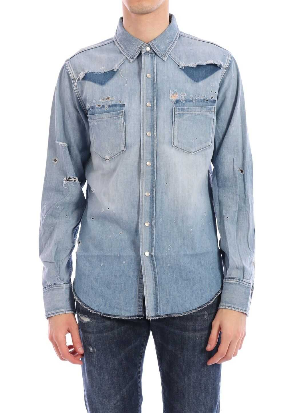 Saint Laurent Western-Style Shirt Light blue