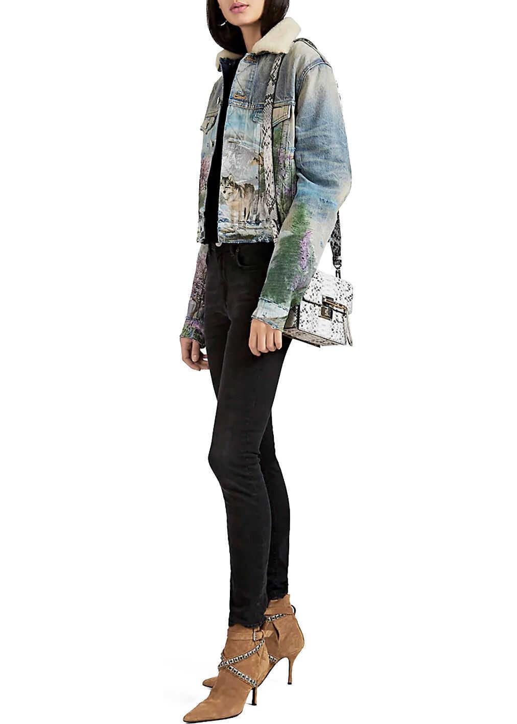 AMIRI Embroidered Denim Jacket Light blue