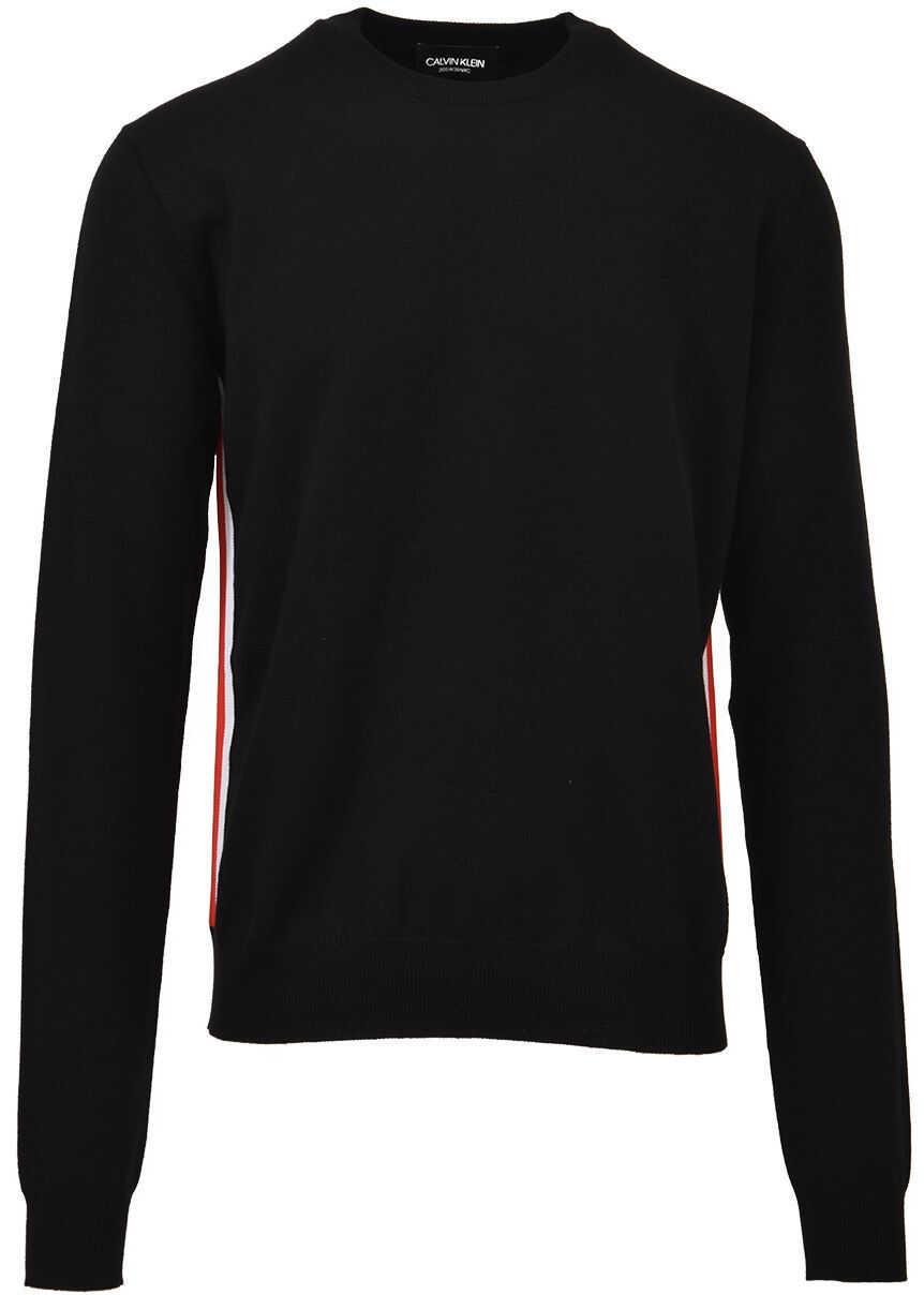 Calvin Klein 205W39NYC Striped Crewneck Sweater Black imagine