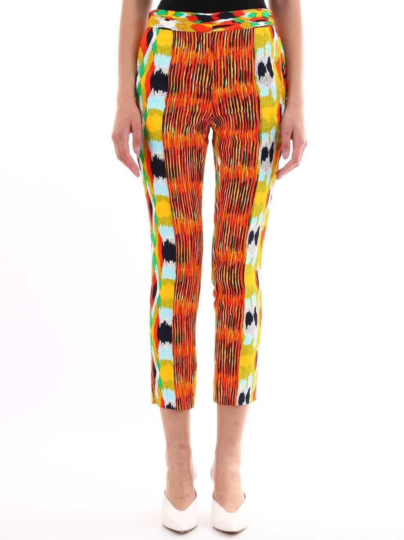 Céline Patterned Viscose Trousers Multicolor