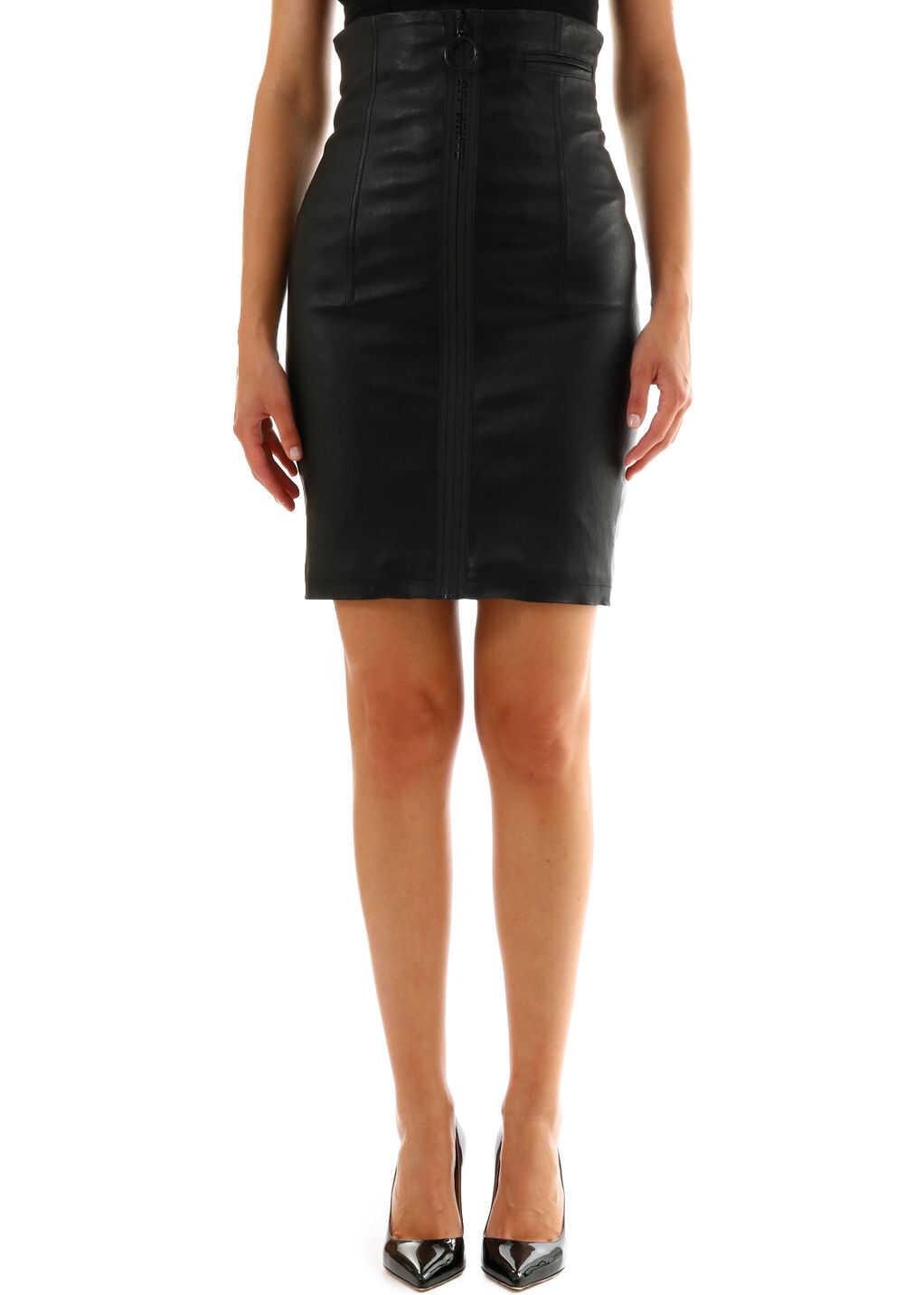 Off-White Leather Skirt Black