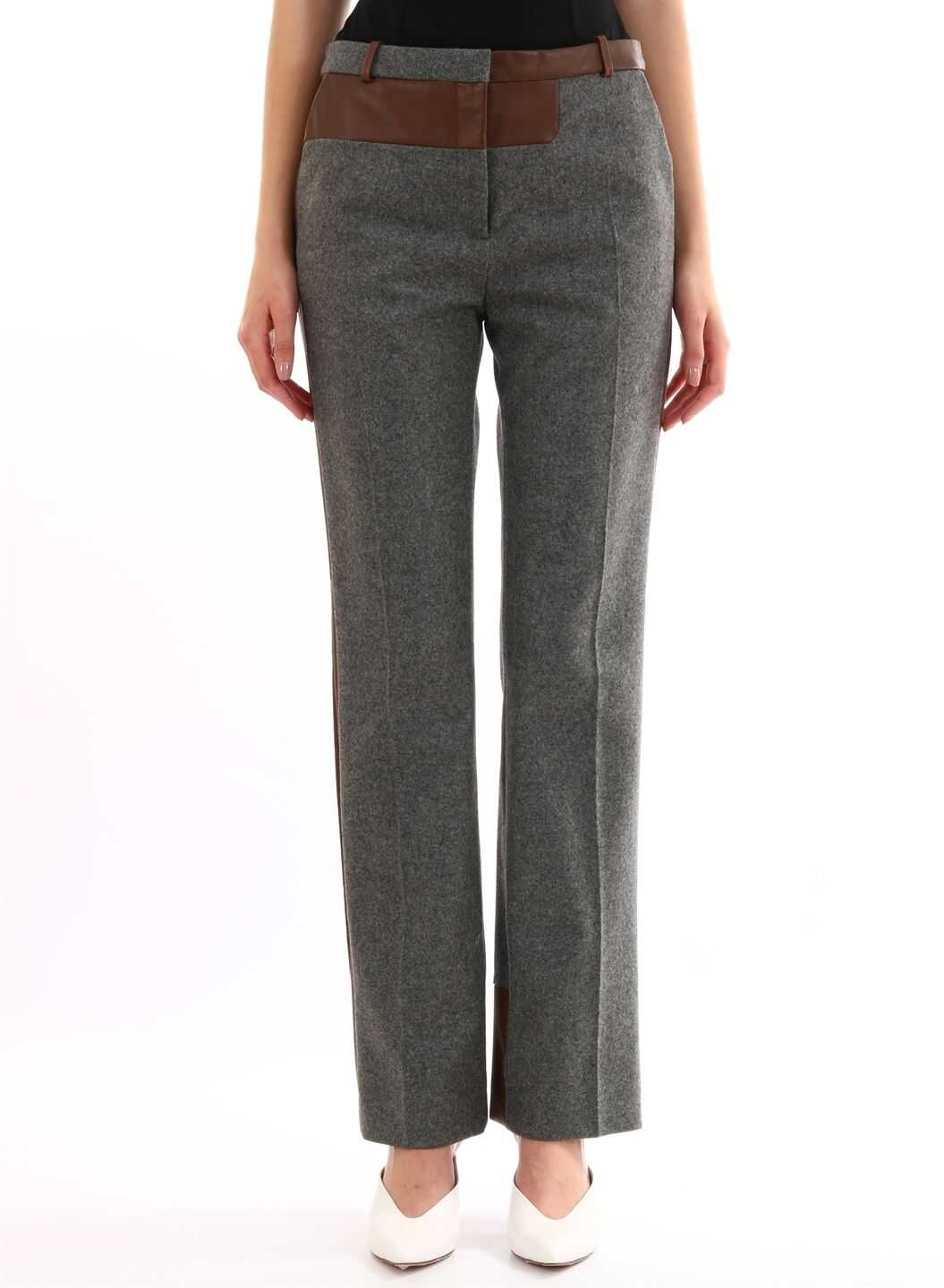 Céline Gray Trousers Leather Inserts Grey