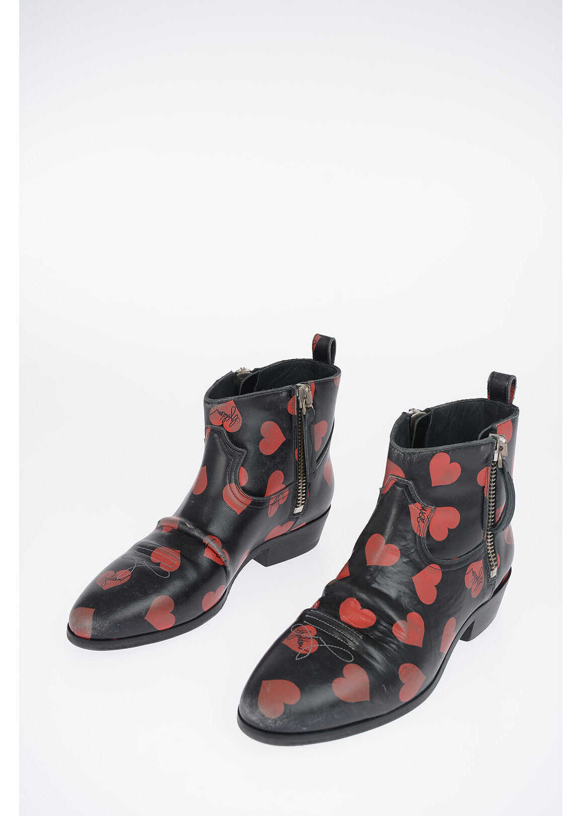 Golden Goose Leather Heart Printed Ankle Boots BLACK