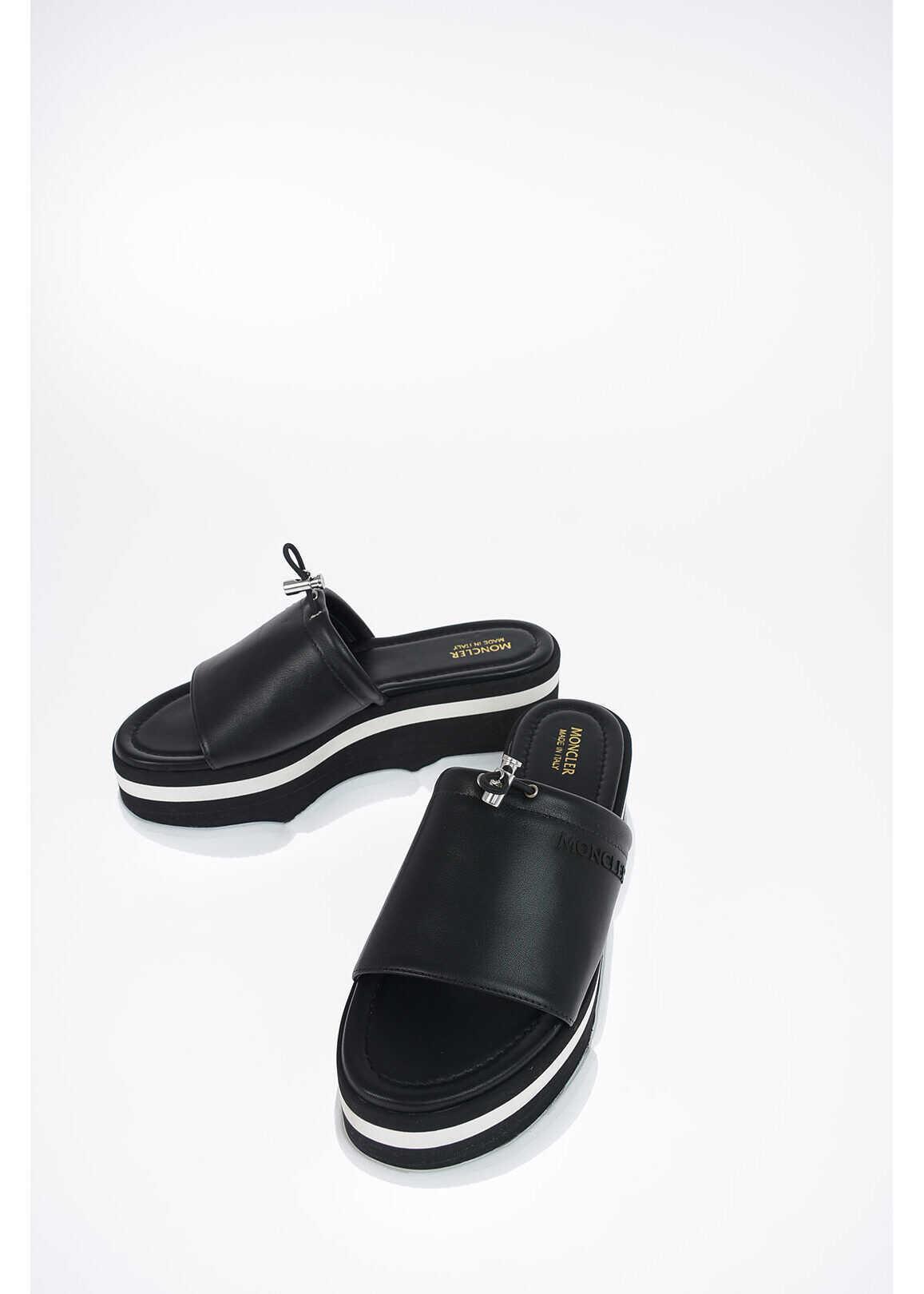 Moncler leather ZAIRA sandals BLACK