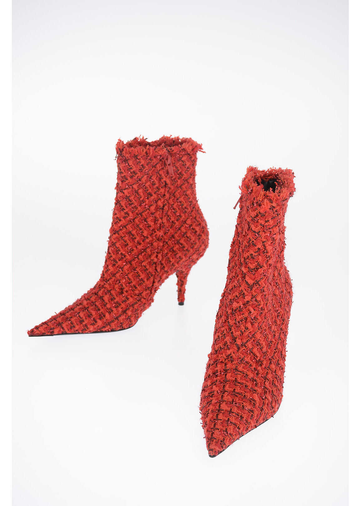 Balenciaga 8 cm fabric TWEED ankle boots RED