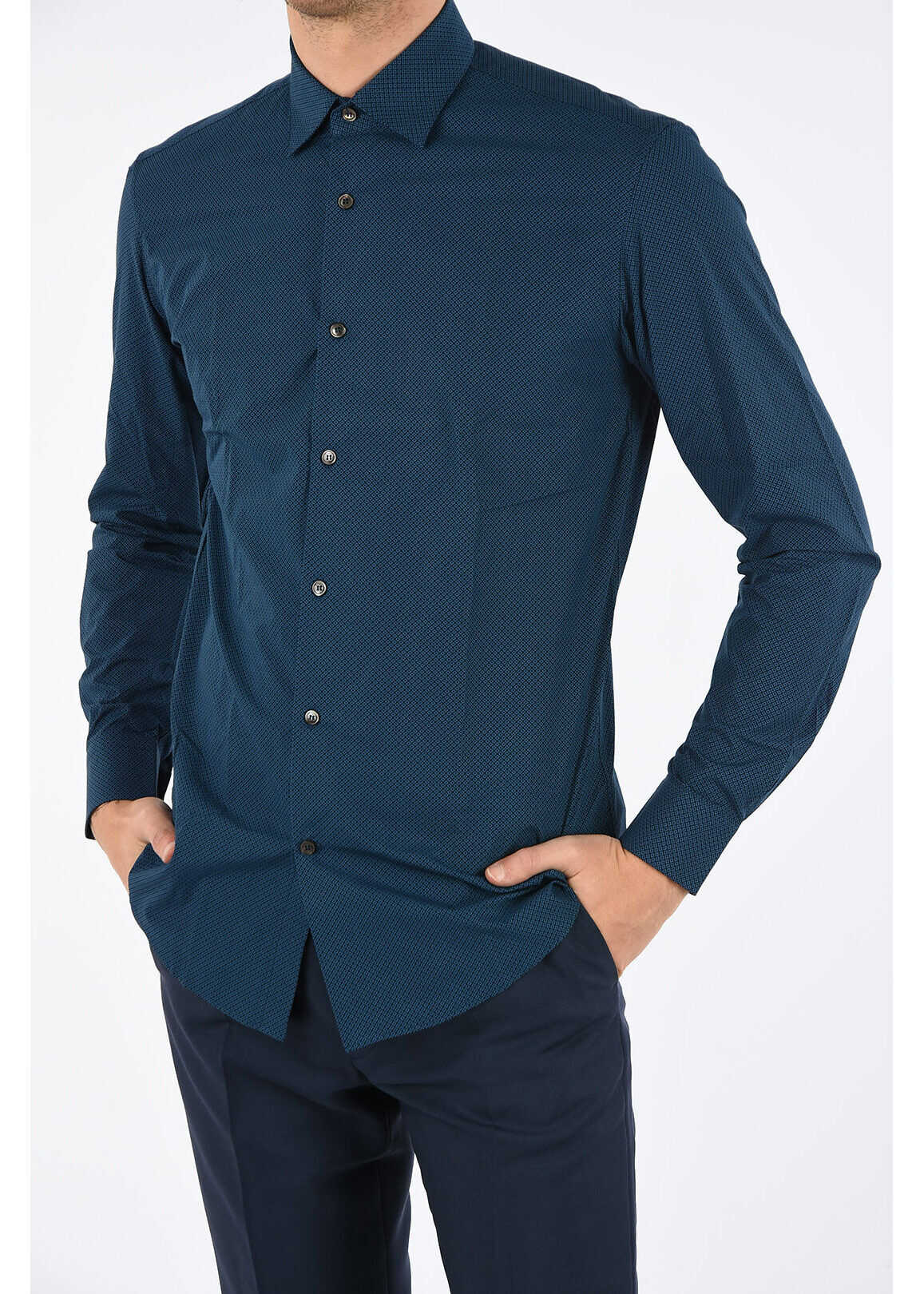 Salvatore Ferragamo bird's eye spread collar shirt BLUE