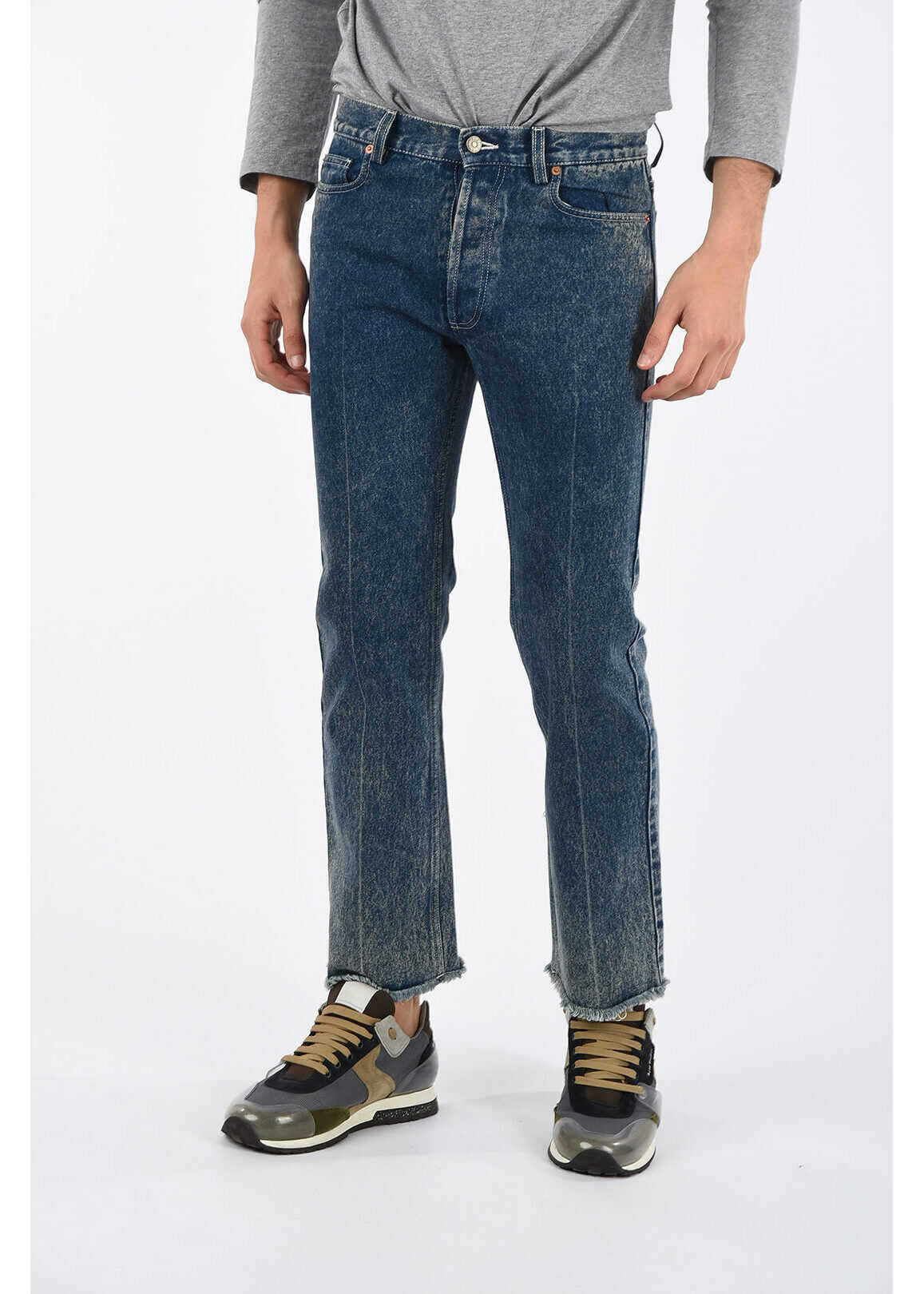 Gucci Straight Fit Jeans with Frayed Hem 20 cm BLUE