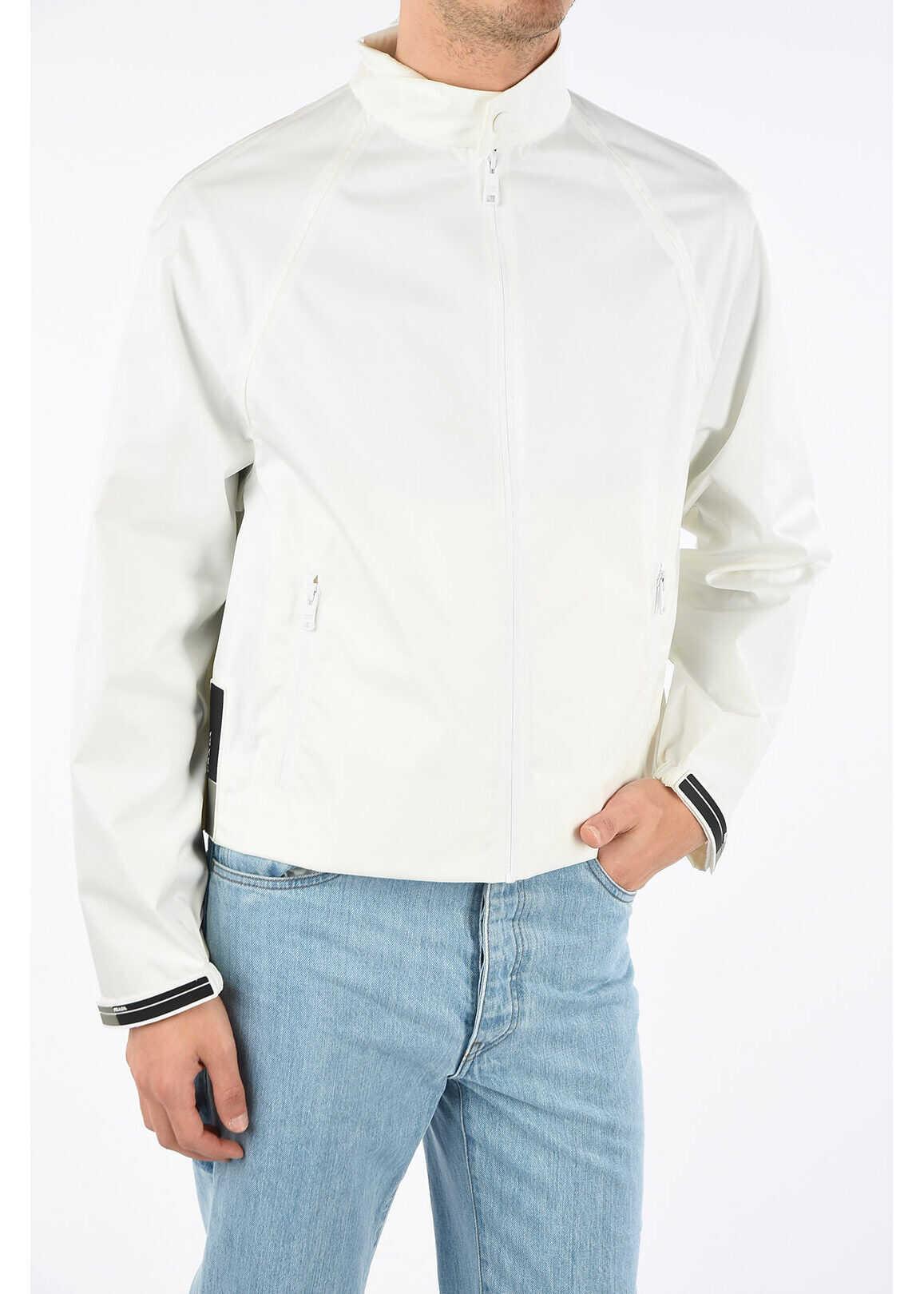 Prada full zip blouson WHITE