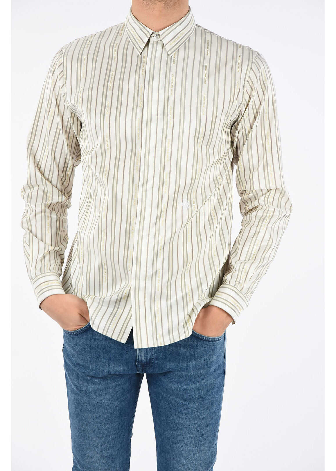 Dior barcode striped shirt WHITE