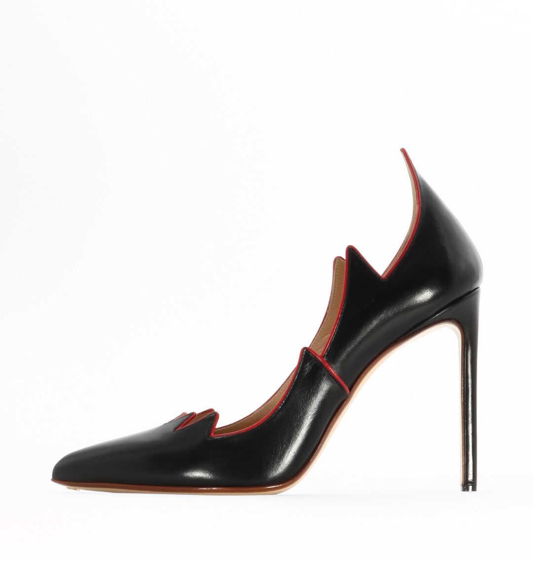 Francesco Russo Black Leather Flame Pump Black/red