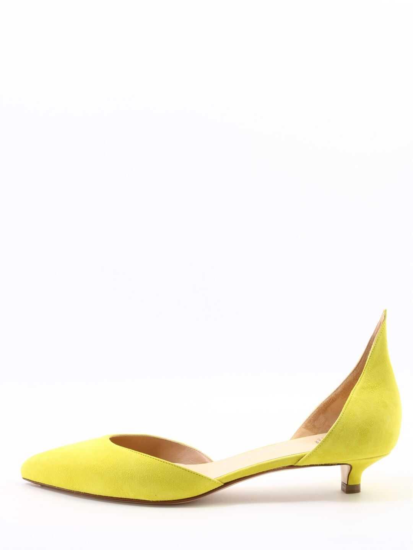 Francesco Russo Dècolleté Suede Lime Yellow