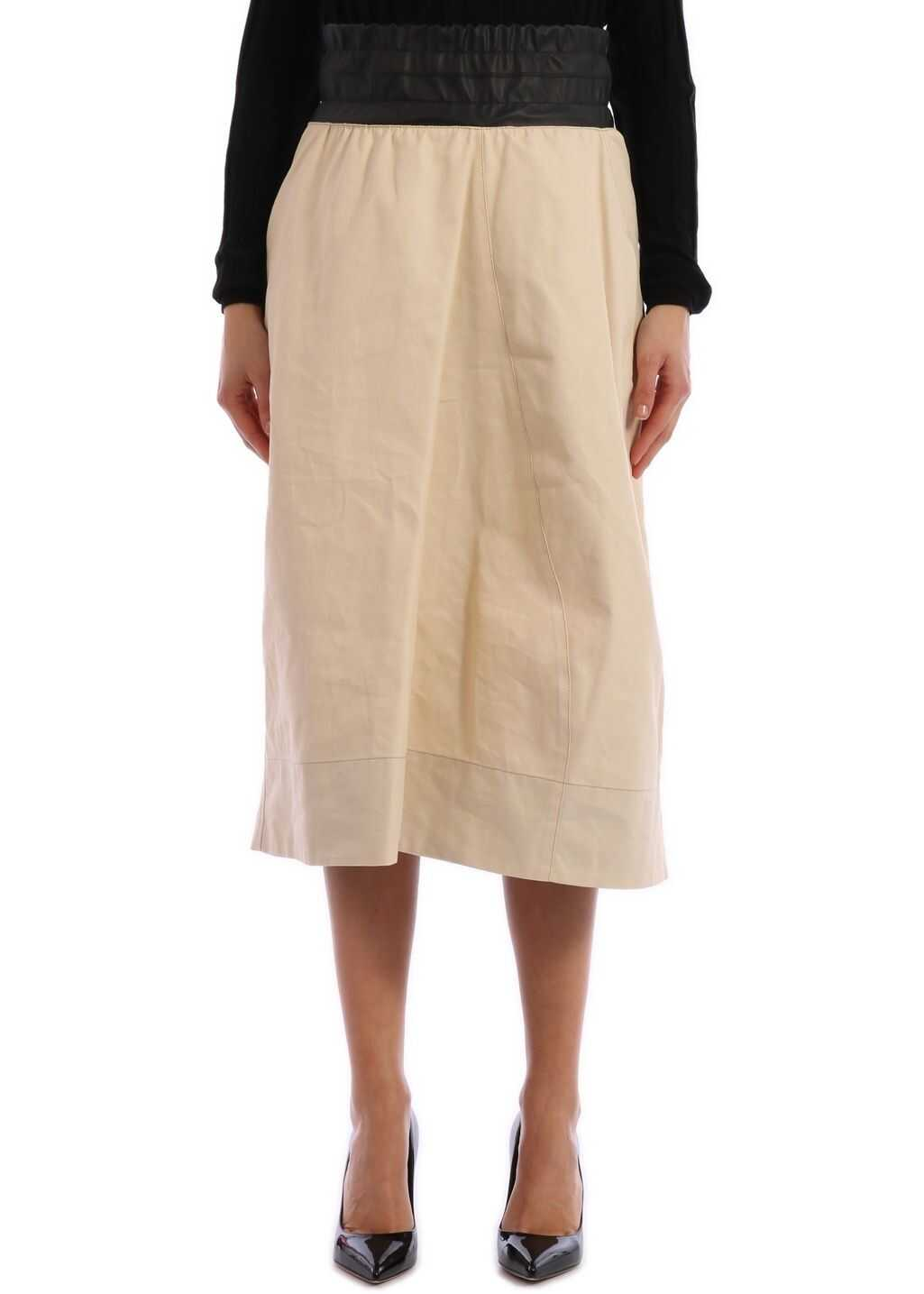 Plan C Bimaterial Skirt Beige
