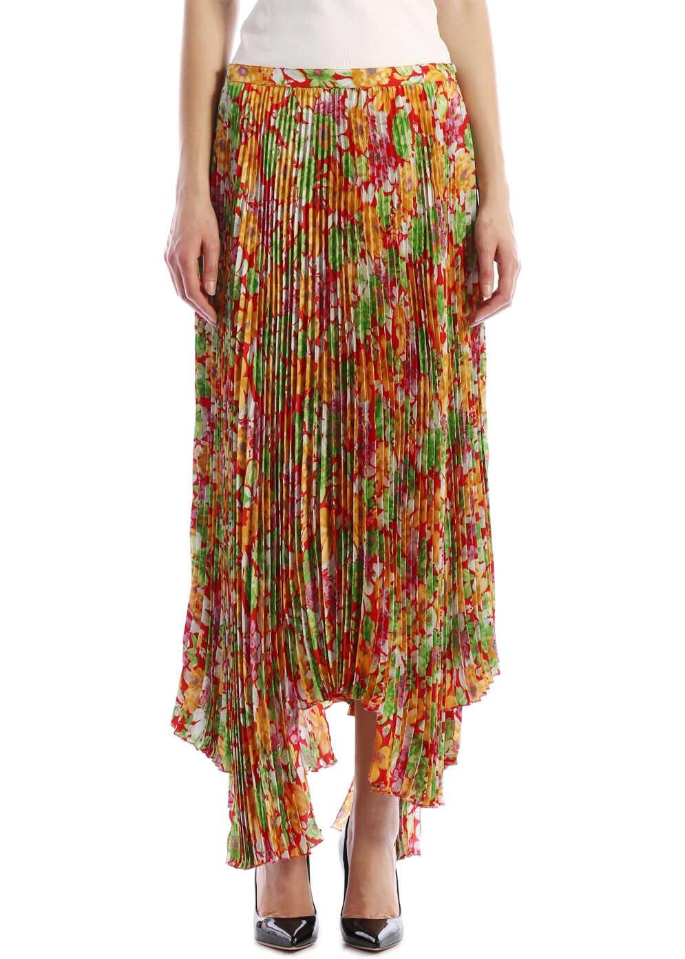 Plan C Floral Plissè Skirt Multicolor