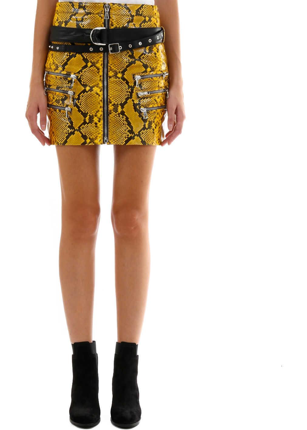 Unravel Python Leather Skirt Yellow