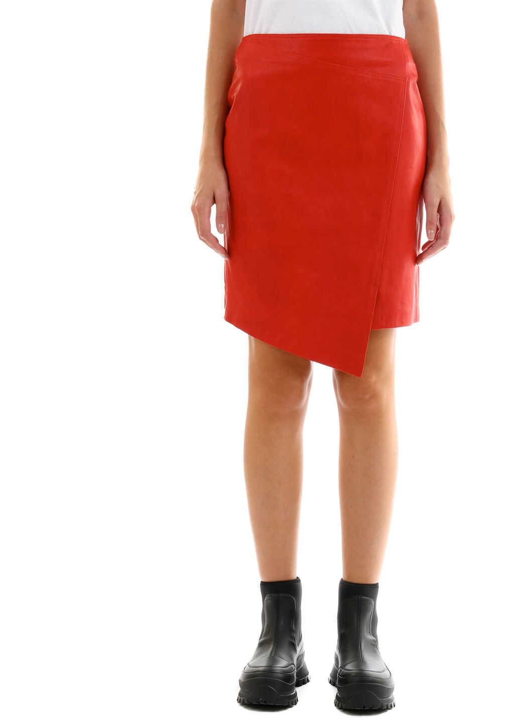 ARMA Leather Miniskirt Red