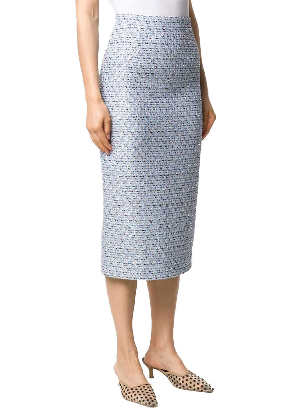 Alessandra Rich Embroidery Midi Skirt Light blue