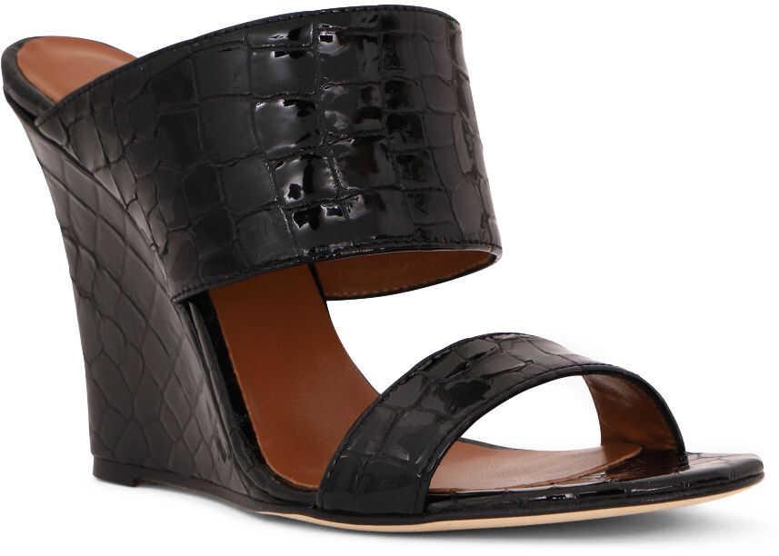 Paris Texas Coconut Wedge Sandals Black