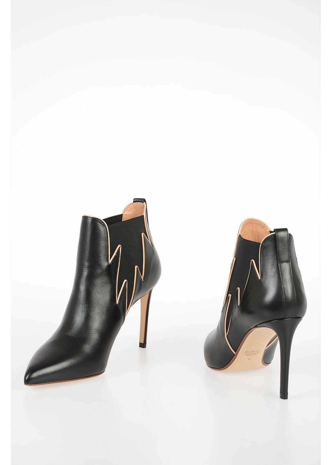 Francesco Russo 9,5cm Leather Ankle Boots BLACK