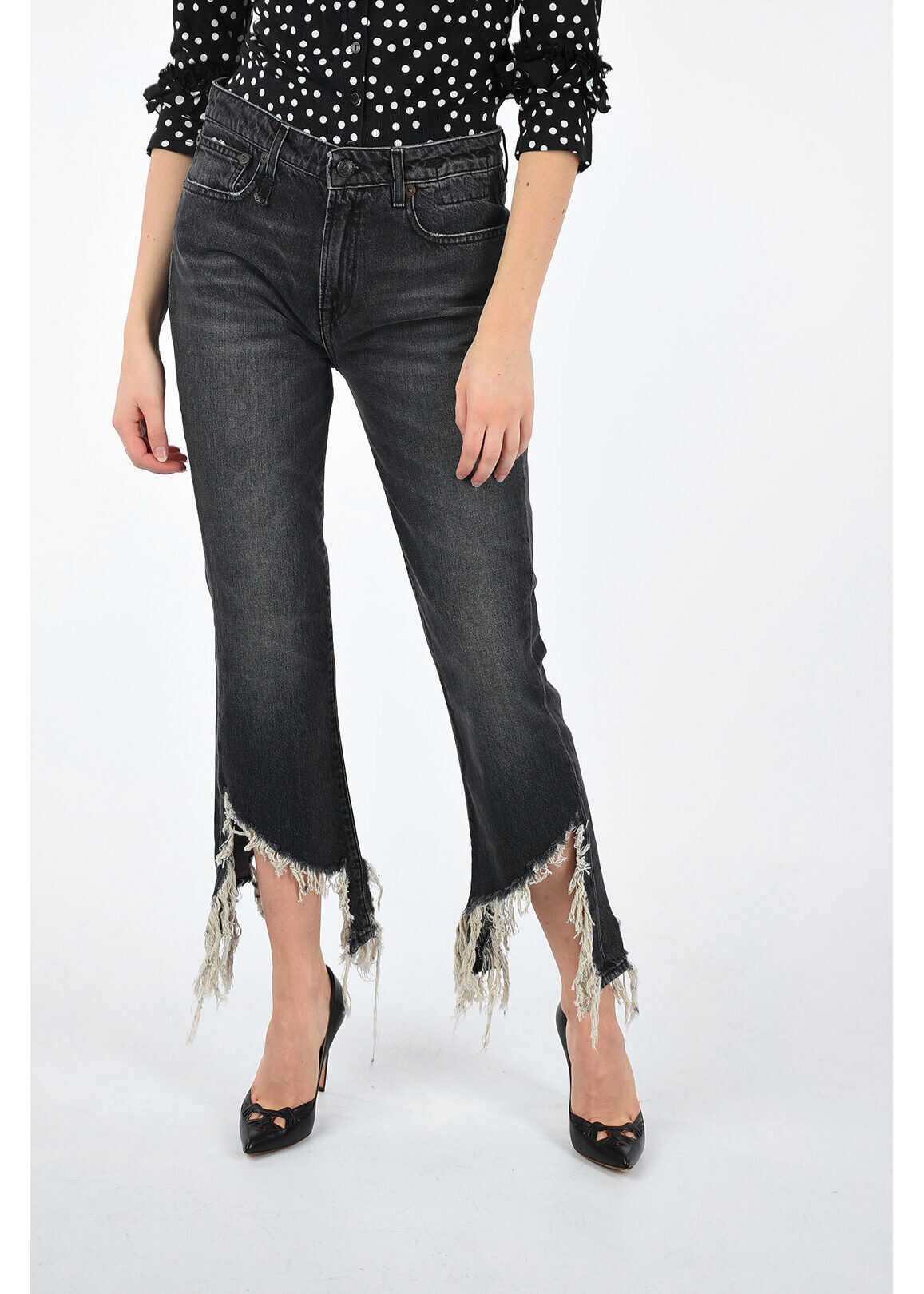 R13 19cm Fringe KICK FIT Jeans BLACK