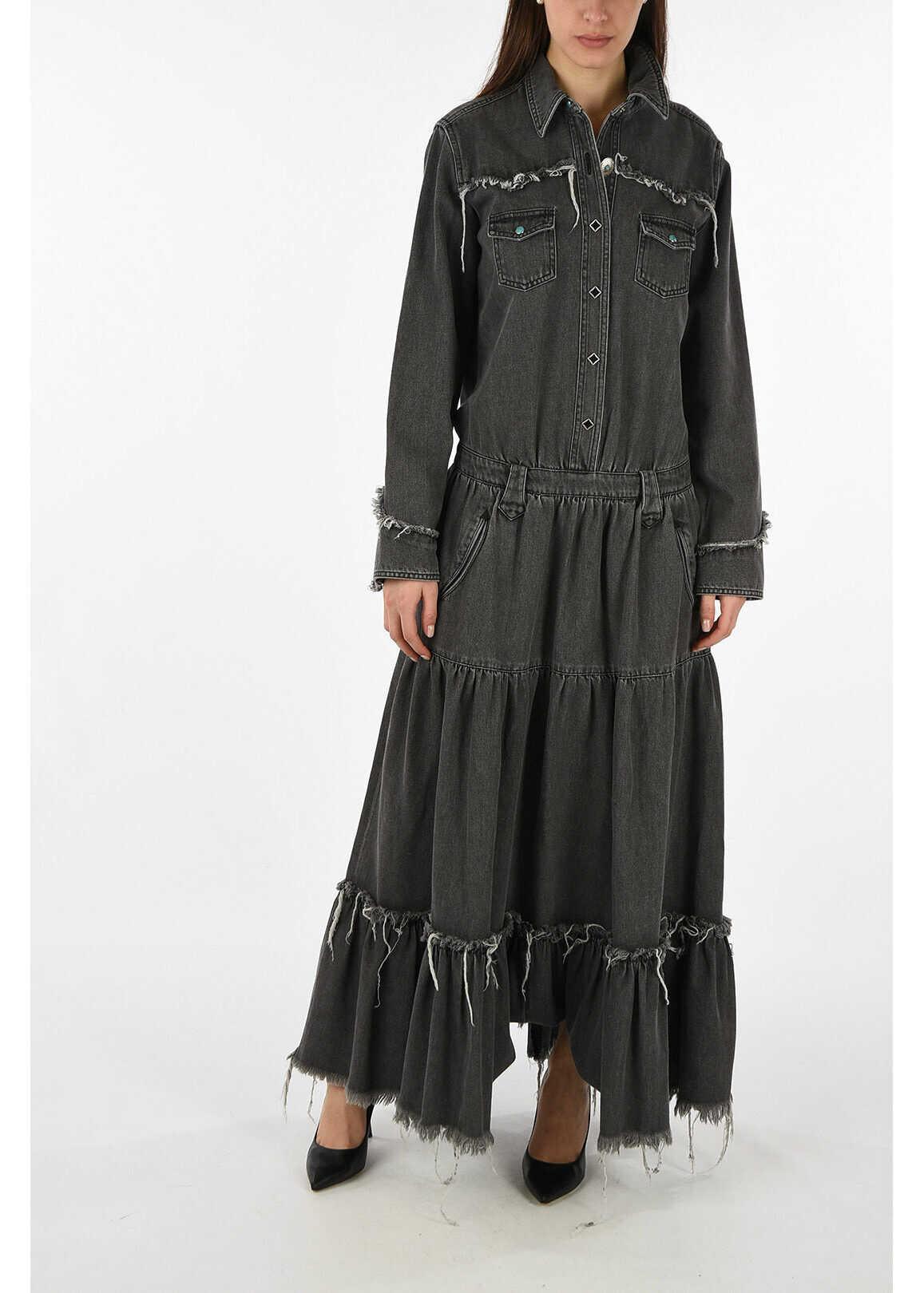 ALANUI denim evening lenght dress GRAY