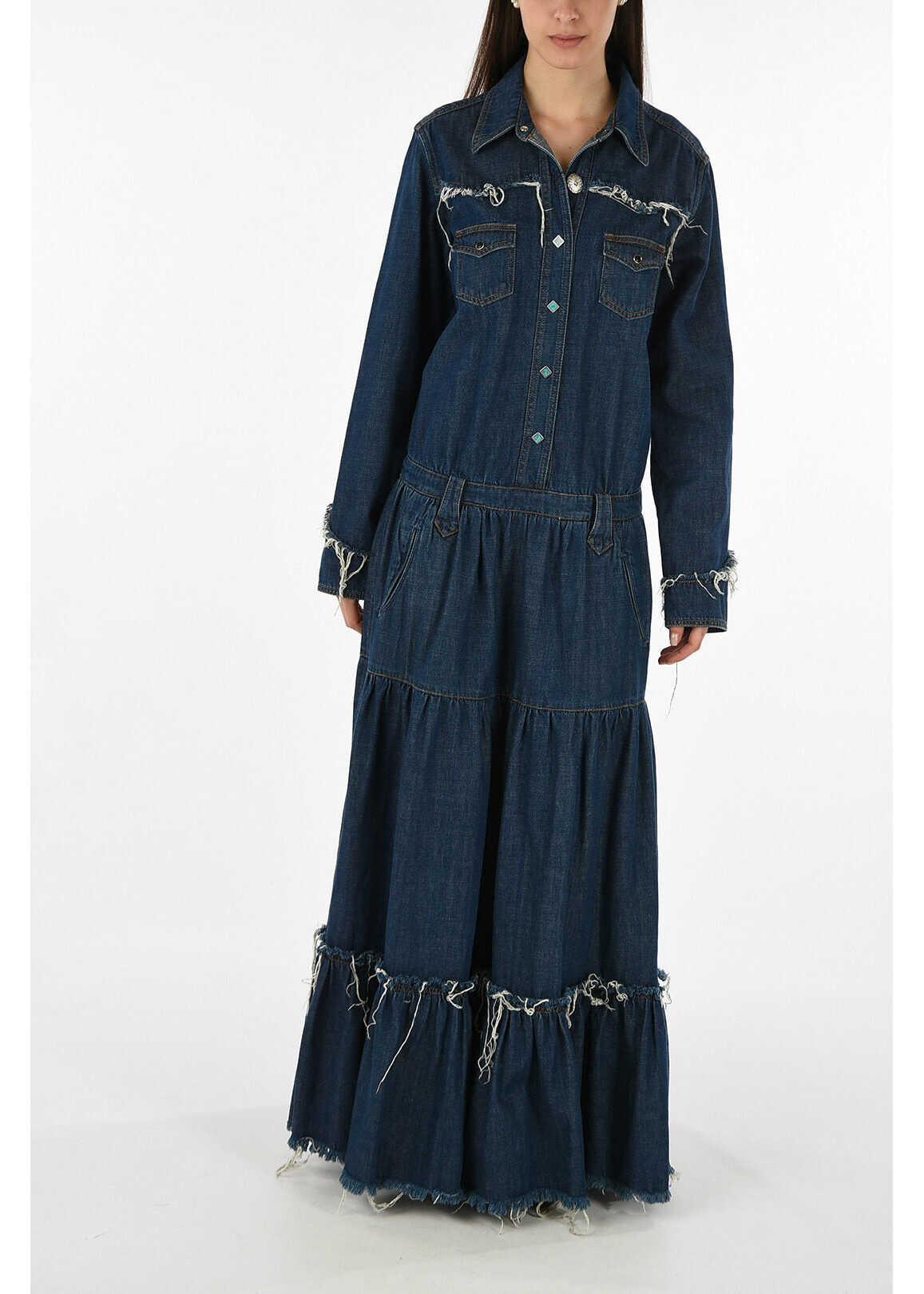 ALANUI denim evening lenght dress BLUE