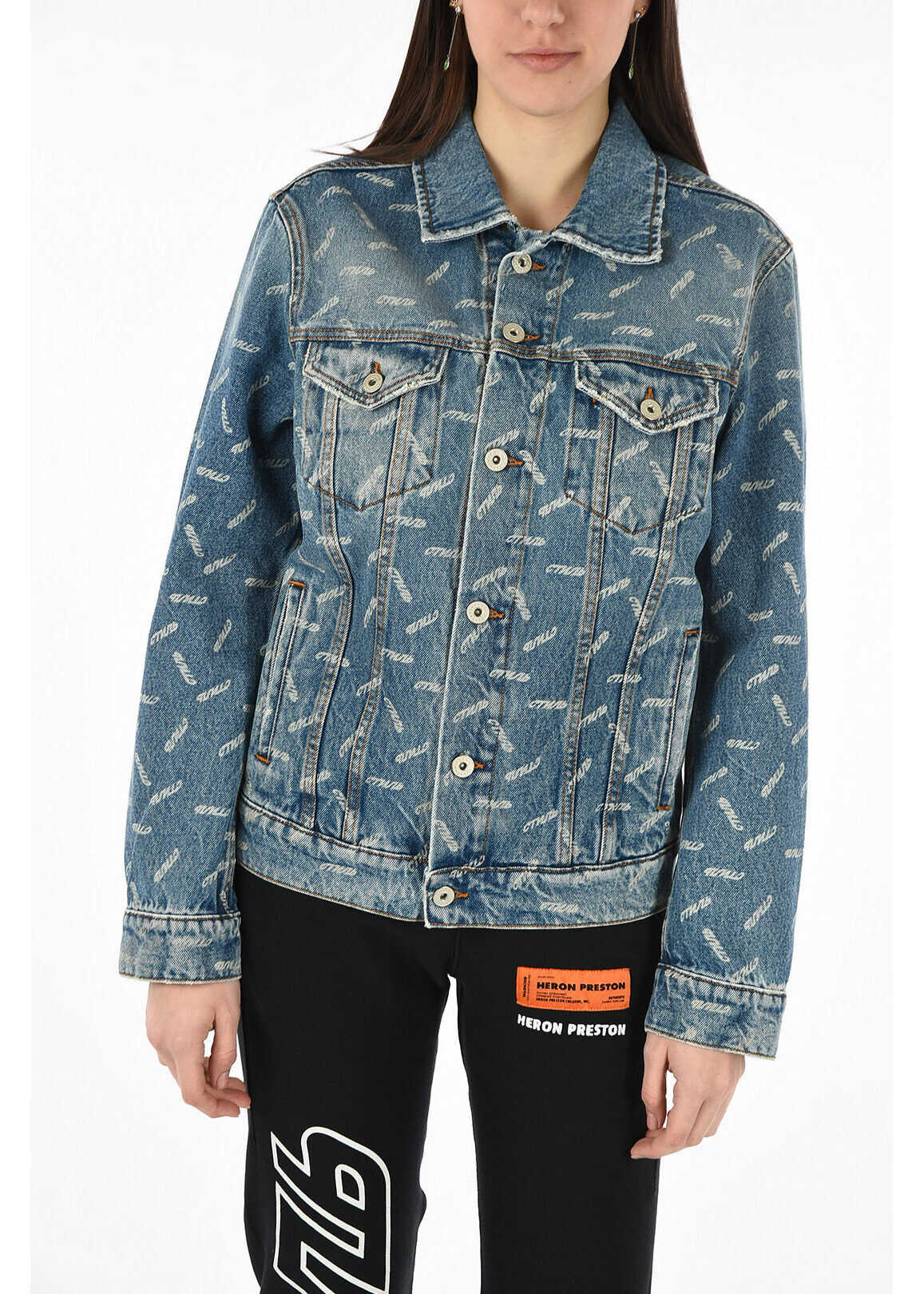 Heron Preston denim printed jacket BLUE