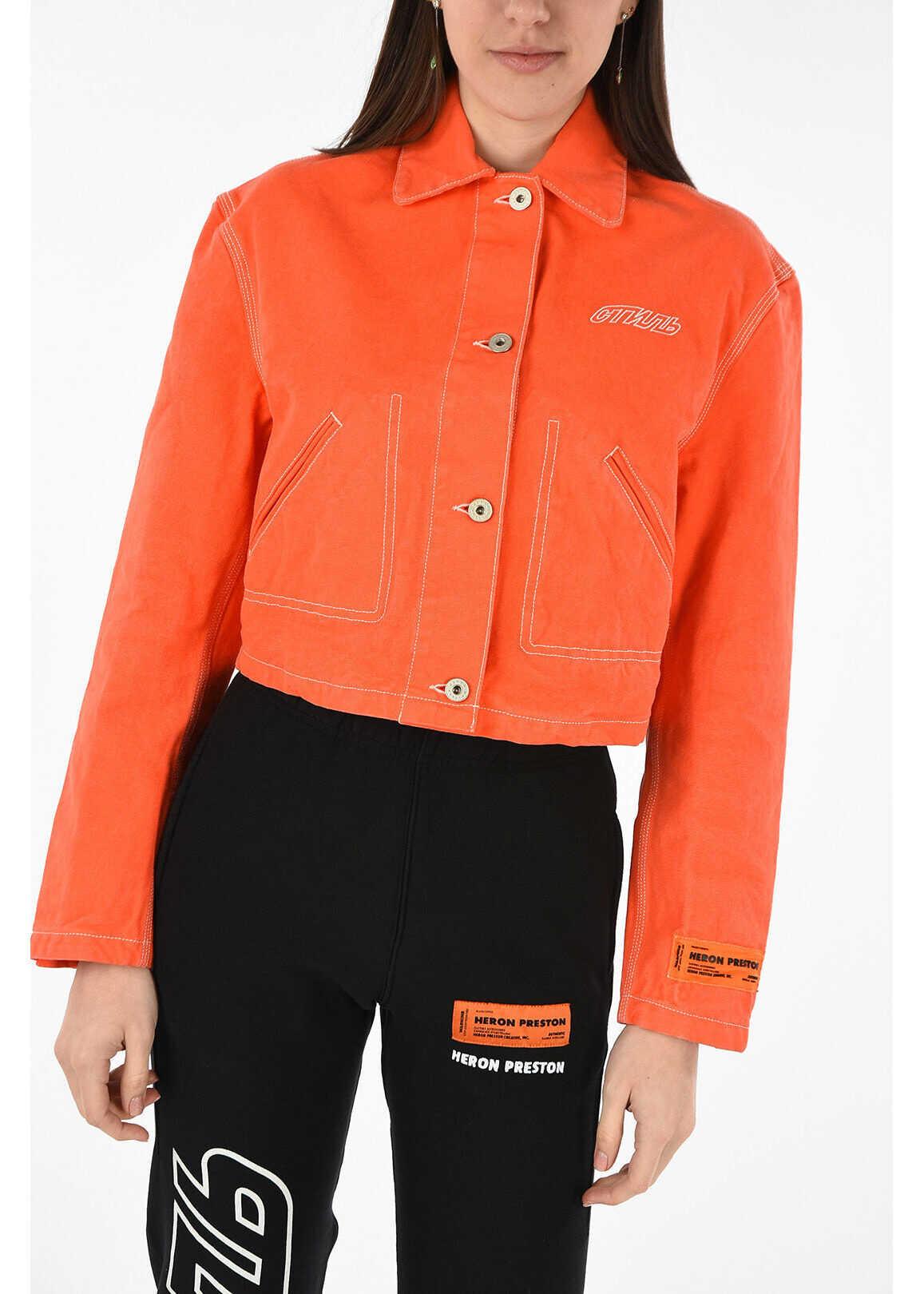 Heron Preston waist length denim jacket ORANGE