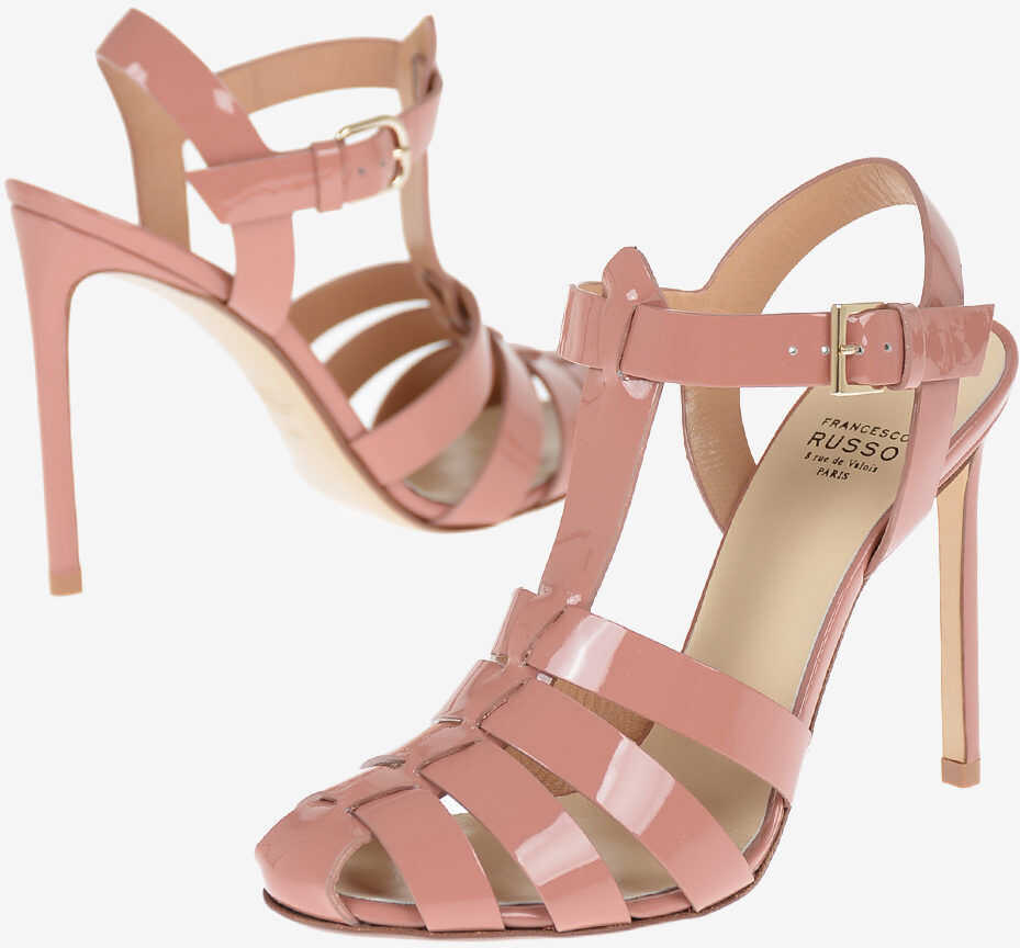 Francesco Russo Lacquered Leather Sandals 11 cm PINK