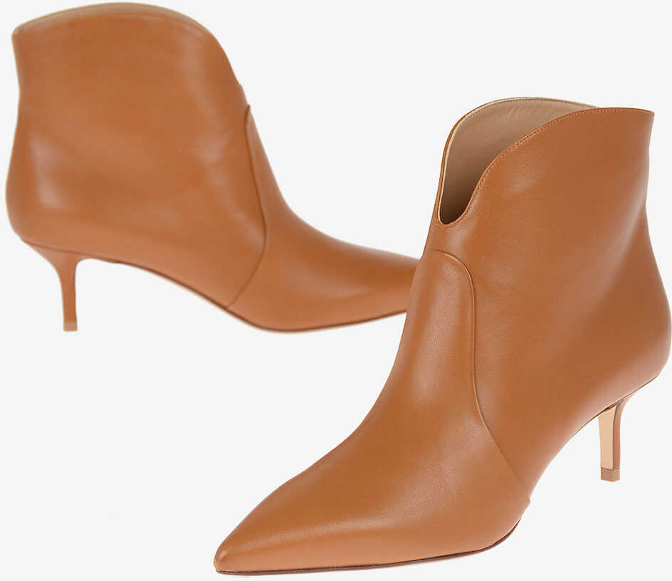 Francesco Russo Leather Booties 6 cm BROWN