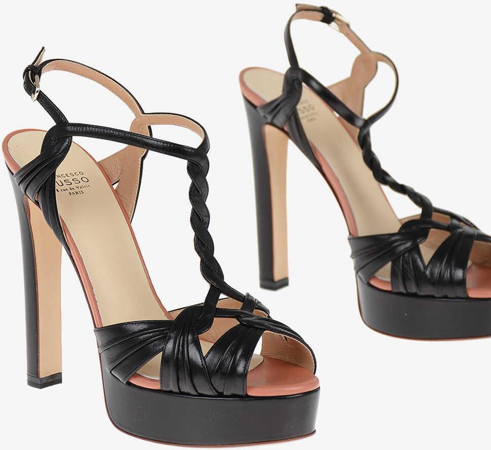 Francesco Russo Leather Sandals with Platform 14 cm BLACK
