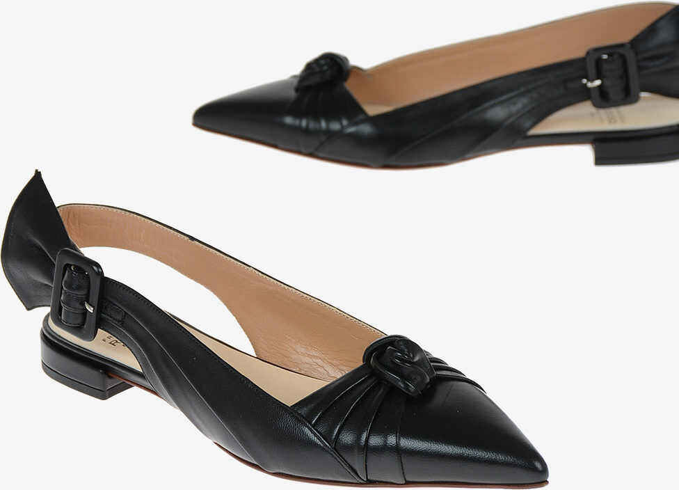 Francesco Russo Leather Slingback Ballet Flats BLACK